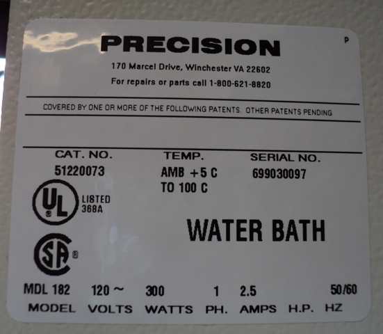 Precision Scientific (Thermo Scientific) Series 180 General Purpose Water Bath Catalog #51220073, Model #182