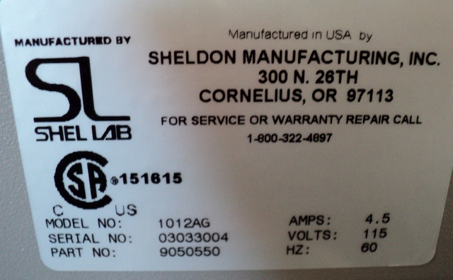 VWR Sheldon Labs 1012AG Hybridization Oven with Carousel, P/N 9050550