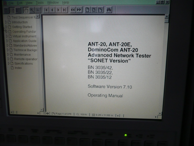 Acterna WWG ANT-20SE SONET Advanced Network Tester with Jitter and Optical Power Splitter