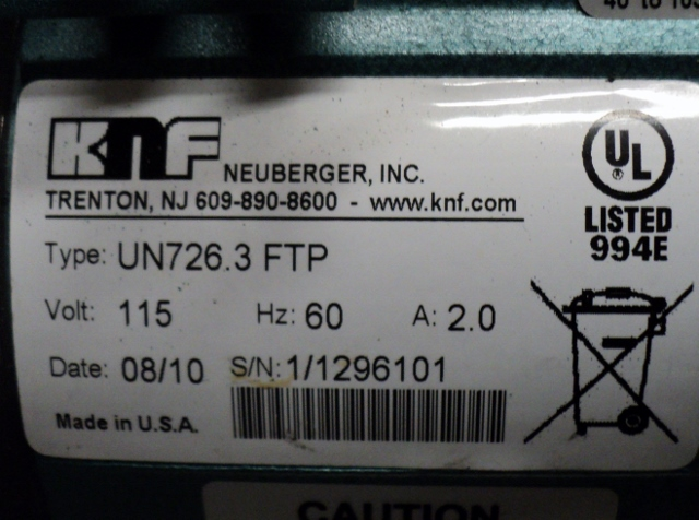 KNF Neuberger UN726.3.FTP Diaphragm Vacuum Pump